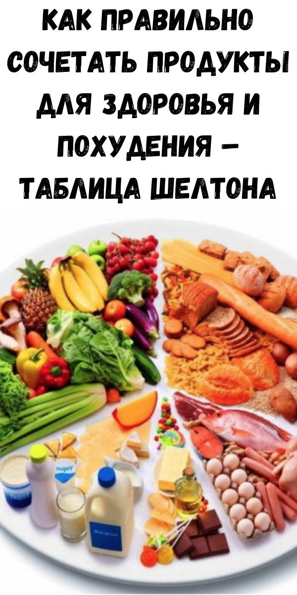 Как правильно сочетать продукты для здоровья и похудения – таблица Шелтона