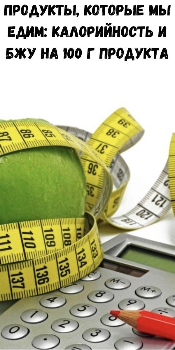 Продукты, которые мы едим: Калорийность и БЖУ на 100 г продукта